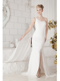 Sheath One Shoulder Mature Bridal Gown