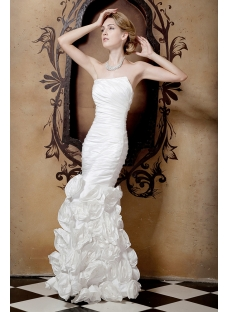 Sheath Strapless Cheap Bridal Gowns with Flowers
