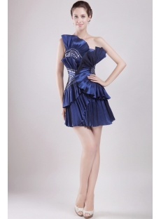 Short Dark Navy Unique Graduation Dress
