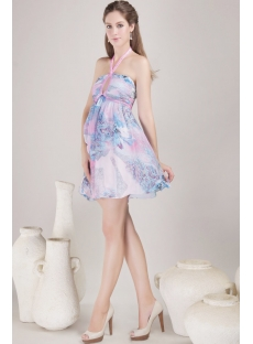 Short Halter Print Chiffon Homecoming Dress with Open Back