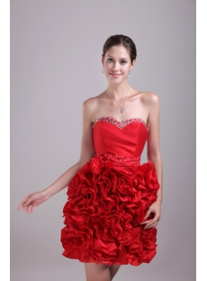 Short Ruffled Red Party Dresses 1438