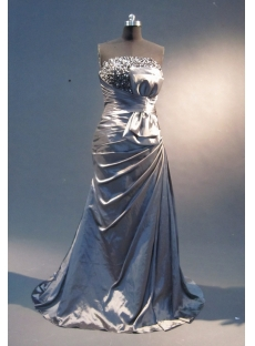 Silver A-Line Floor-Length Satin Prom Dress 1853