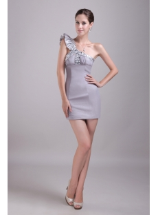Silver Mini One Shoulder 8th Grade Graduation Dresses 1406