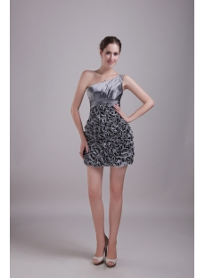 Silver Ruffled Short Quince Gown Dress 1322