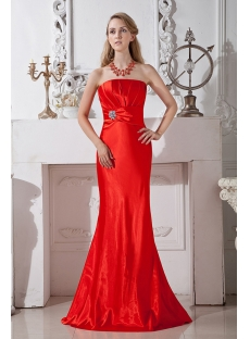 Simple Cherry Red Sheath Bridesmaid Gown