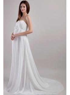 Simple Chiffon Pregnant Wedding Dress with Empire 1958