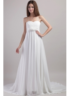 Simple chiffon pregnant wedding dress with empire 1958 1st for Simple wedding dresses for small wedding