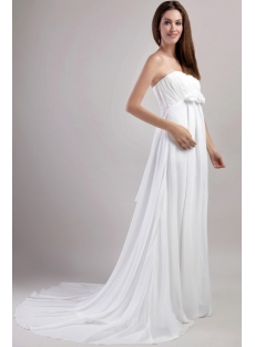 Simple Chiffon Pregnant Wedding Dress with Empire 1958
