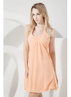 Simple Orange Halter Homecoming Dress