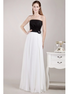 Simple White and Black Plus Size Prom Dress