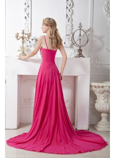 Spaghetti Straps Chiffon Colorful Evening Dress with Train