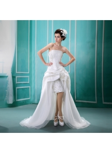 Strapless Asymmetrical Satin Organza Wedding Dress With Ruffle Lace Beadwork Sequins