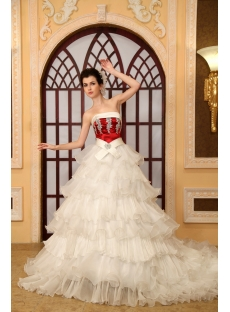 Strapless Chapel Train Organza Satin Wedding Dress With Lace Beadwork H-152
