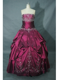 Strapless Floor-Length Taffeta Plus Size Quinceanera Dress 01462