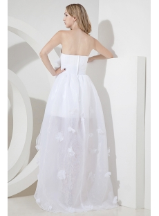 Strapless High-low Beach Wedding Dress Casual