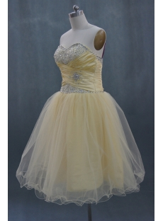 Strapless Knee-Length Organza Homecoming Dress With Ruffle 03671