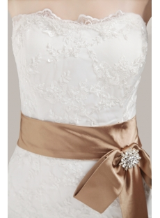 Strapless Sheath Lace Bridal Gown with Sash
