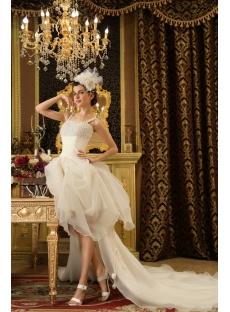 Straps Chapel Train Organza Wedding Dress With Ruffle Beadwork
