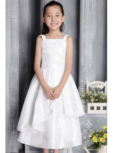 Straps Ivory Tea Length Flower Girl Gown 2660