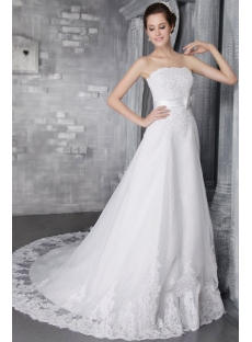 Stylish Strapless Lace Bridal Gown Dress 2734