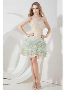 Sweet Puffy Colorful Short Quinceanera Gown
