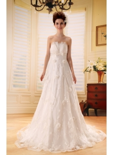 Sweetheart Chapel Train Satin Lace Beach Wedding Dress With Sashes Beadwork Sequins F-099