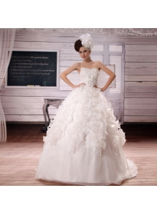 Sweetheart Court Train Organza Satin Wedding Dress With Beadwork Sequins