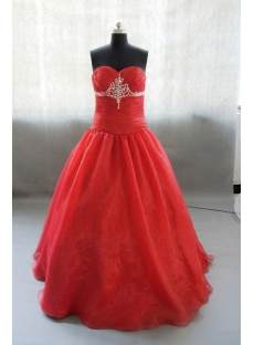 Sweetheart Floor-Length Taffeta Organza Quinceanera Dress With Beading Flower 02441