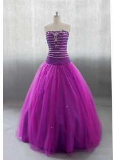 Sweetheart Floor Length Taffeta Tulle Quinceanera Dress With Ruffle Beading 02612