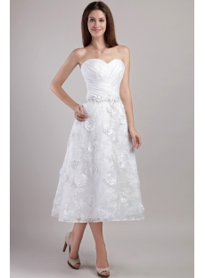 Sweetheart Tea Length Bridal Gowns with Floral 2274
