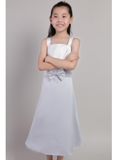 Tank Straps Silver and Ivory Flower Girl Dress 2142