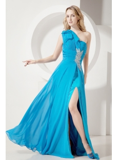 Teal Chiffon Sexy Evening Dress with Open Back