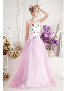 Traditional Colorful Quinceanera Dress with Embroidery