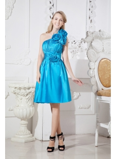 Turquoise Blue One Shoulder Junior Prom Dress with Floral