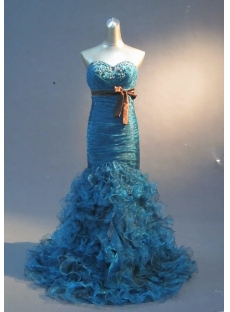 Turquoise Mermaid Trumpet Strapless Sweetheart Satin Organza Prom Dress 1767