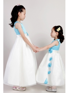 Unique Blue and Ivory Tea Length Wedding Flower Girl Dresses 2077