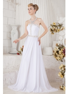 Unique Long Chiffon Bridal Gown for Beach