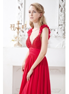 Unique Red Backless Sexy Evening Dress with Cap Sleeves