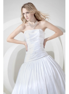 White Cheap Ball Gown Wedding Dress with Train
