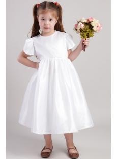 White Cute Flower Girl Dresses with Petal Sleeves 2018