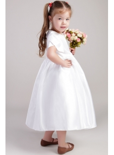 White Cute Flower Girl Dresses with Petal Sleeves 2018