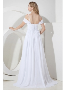 White Off Shoulder Beach Wedding Dress for Plus Size