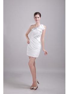 White One Shoulder Cocktail Dress Short 1209