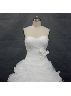 White Organza  Floor-Length 2013 Ball Gown Dress 02347