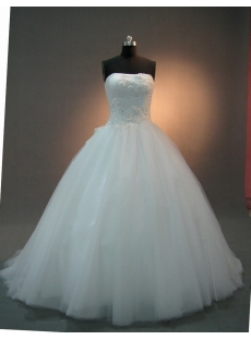 White Strapless Sweetheart Natural Waist Satin Tulle Wedding Dress 2063