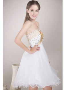 White with Gold Beads Sweet 16 Cocktail Dresses