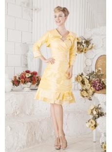 Yellow Taffeta Short Winter Formal Dresses with Jacket