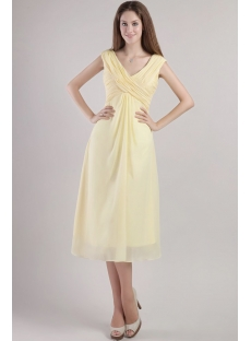 Yellow Tea Length Mother of the Groom Dresses 2357