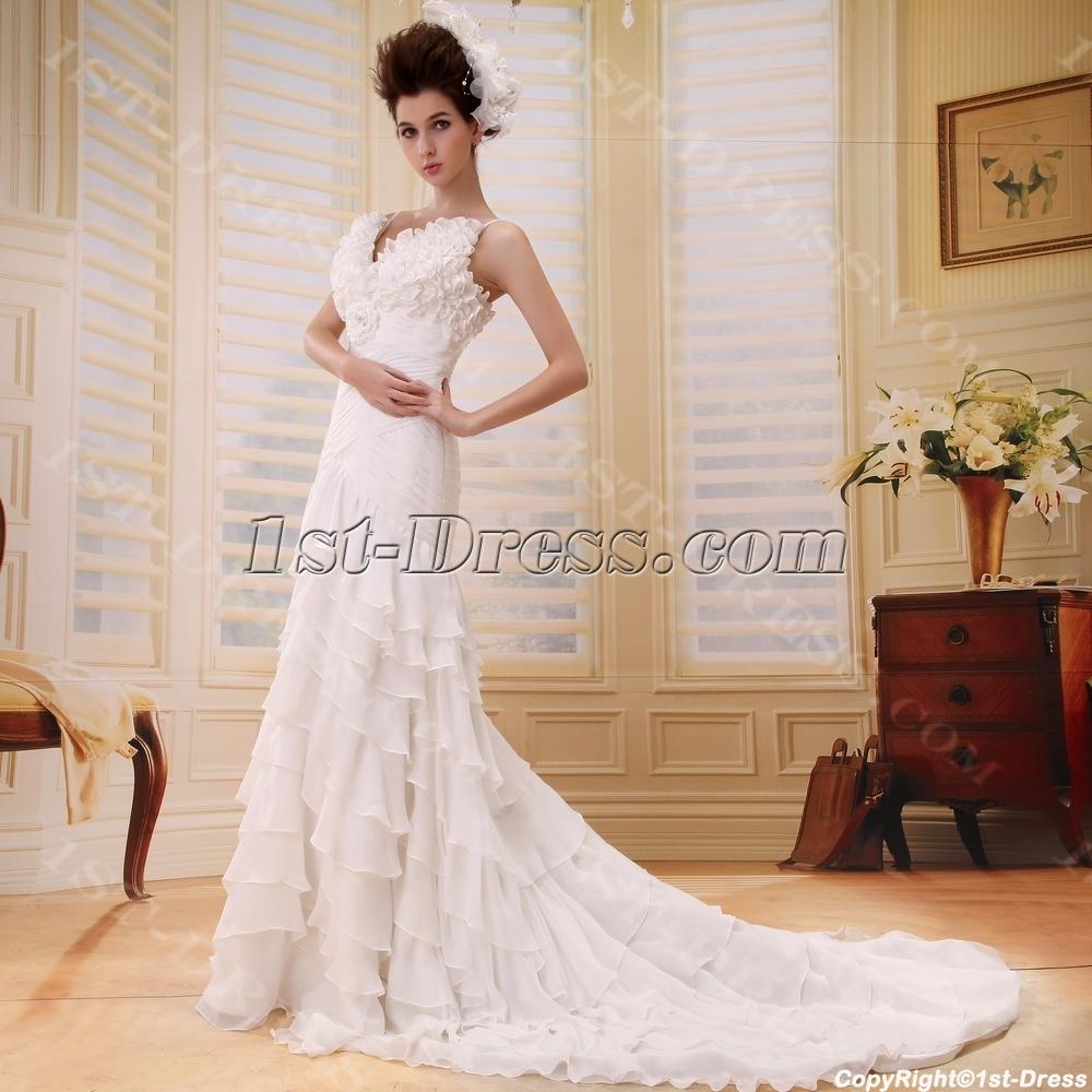 A-Line/Princess V-neck Court Train Chiffon Wedding Dress With Ruffle ...