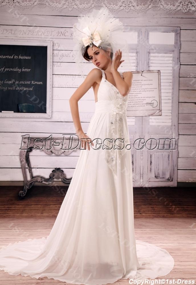 bbfeb559dc5d48 A-Line V-neck Court Train Chiffon Wedding Dress With Ruffle Beadwork ...
